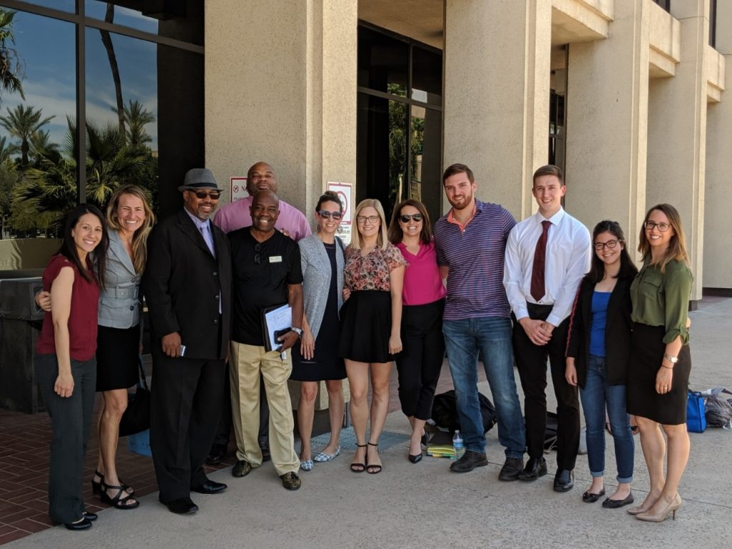 Arizona Justice Project team and Doyle Williams's supporters after June 2019 clemency hearing.